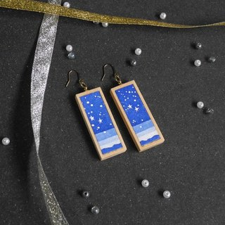 The earrings of starlit sky <Black , Blue>