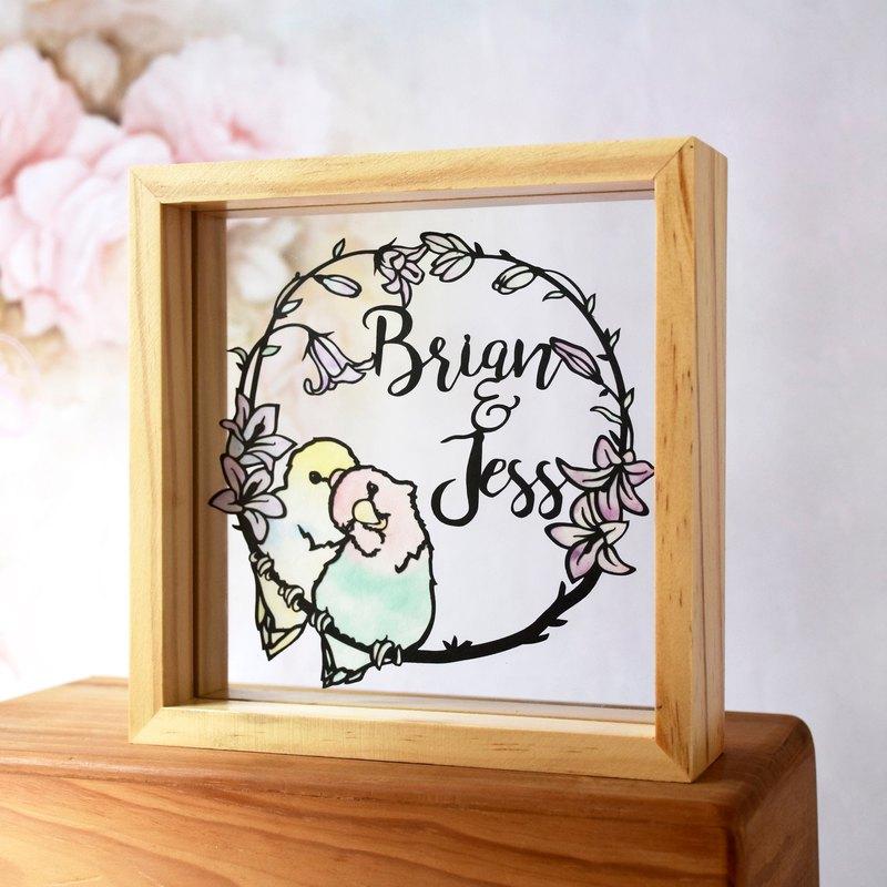 愛情鳥主題 // 簡約手工客製化名字紙雕相框禮物 // 結婚禮物