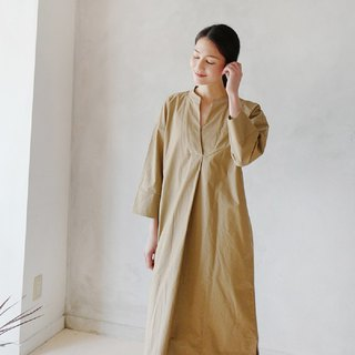 KOOW Ong Ong Simple and Nice V-Neck Robe Japanese Style Washed Cotton Brown Long Dress