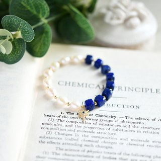 Lapis lazuli and Keessi pearl bracelets Good luck success UP! December's birthstone