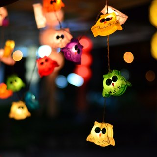 20 LED Battery Powered Owl Family Paper Lantern String Lights for Home Decoration Wedding Party Bedroom Patio and Decoration