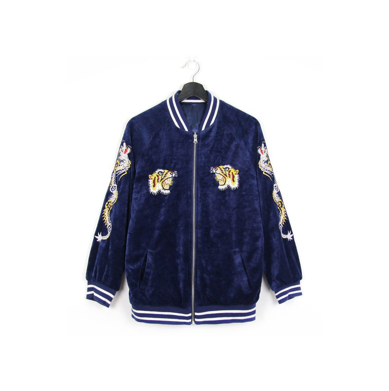 Back to Green:: Yokosuka Tiger / plain double-sided embroidery can be worn //Vintage Sukajan