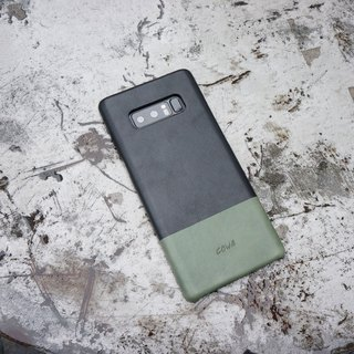 NOTE 8 Two-tone leather case - black / olive green