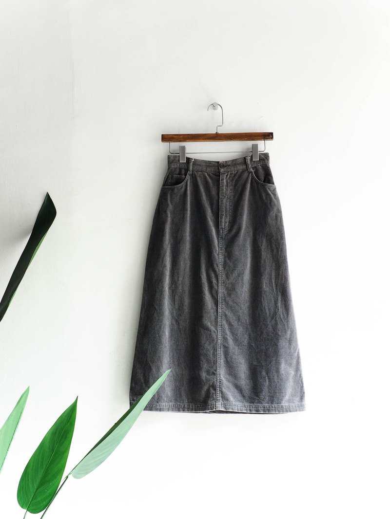 River Water Mountain - Classic plain face gray independent age cotton antique straight skirt Japanese college students