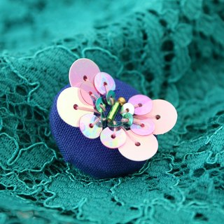 handmade pink butterfly brooch,  round butterfly pin