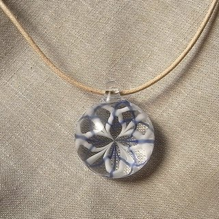 Rose window Geometric pattern Pendant Blue and White Tile Glass Handmade