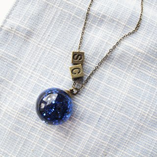*Rosy Garden*Blue glitter water inside glass ball necklace with custom made letter charm