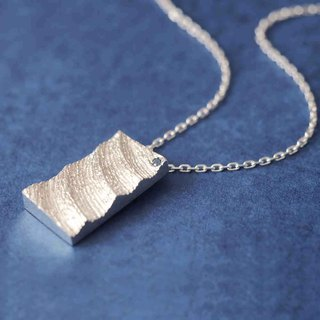White wave Sapphire stick Men's necklace 925 Silver