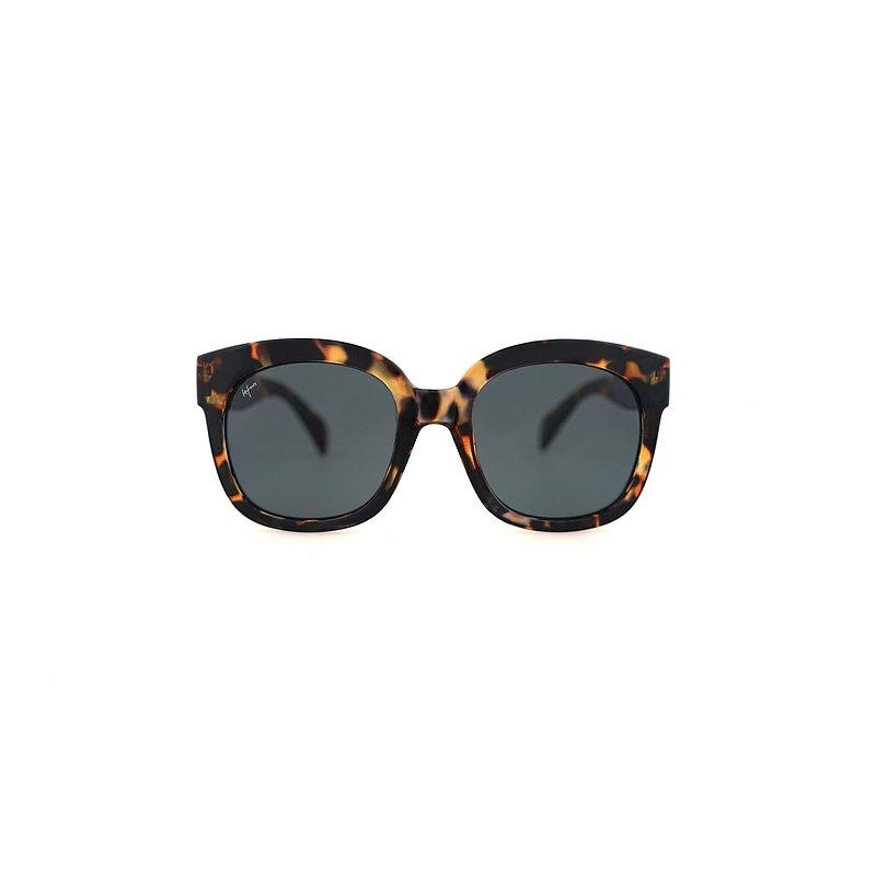 誇張款 方型透框墨鏡  Square sunglasses - 玳瑁