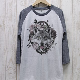 ronronWOLF Tee Raglan Three-quarter sleeve Flower Frame (Heather White × Heather Black) / RPT 016