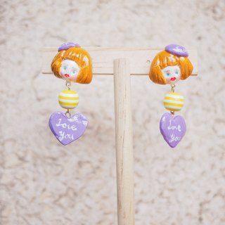 Clay hand made cute doll head girl ear clip