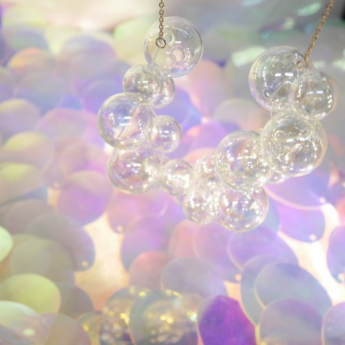 925 Sliver Metallic Bubble Bubbles Necklace (Large)