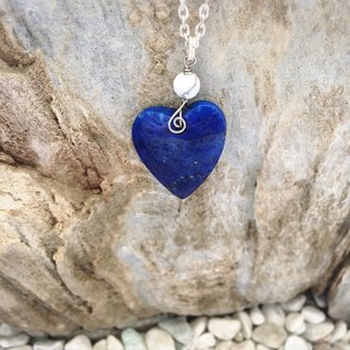 Natural heart shaped lapis lazuli necklace (limited to 1)