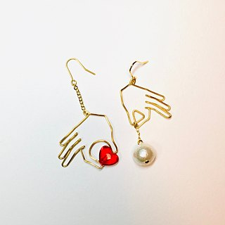 <For Both Ears> Chopstick Heart (Red) Hanging Cotton Pearl
