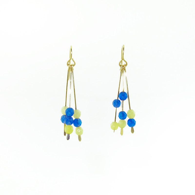summer lemon and sea blue drop earrings