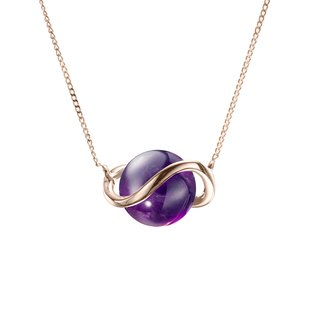 14k Gold Amethyst Necklace, February Birthstone Pendant, Crown Chakra Necklace