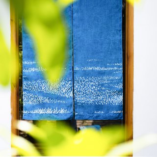 Grass long curtain handmade grass dyed blue dyed indigo dyed original design linen Chinese Japanese partition curtain