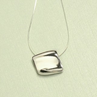 Note paper shape silver necklace