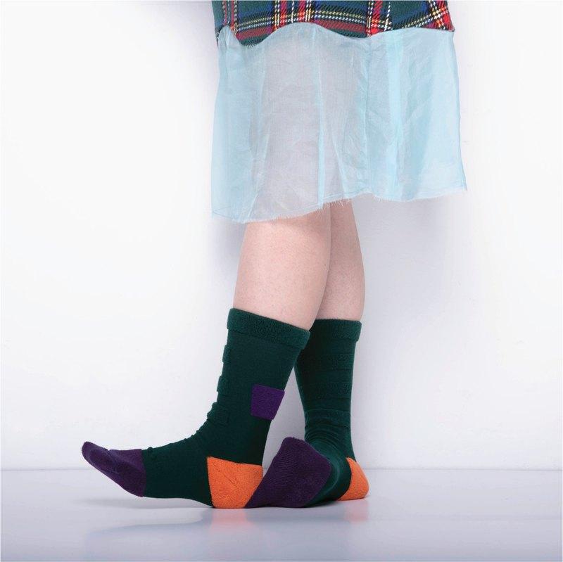 內在美系列 - 想 祖母綠 雙面中筒襪 Reversible Socks