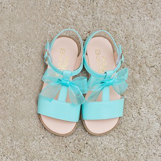 AliyBonnie Shoes Romantic Bow T Word Sandals - Lake Green