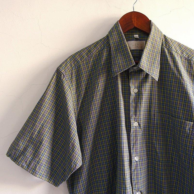 Slowly古著/Vintage/小格紋/古著襯衫