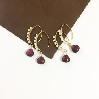 Alunite and Pearl Hook-earring