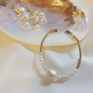 Classic Elegance Sea Cultured Pearl With Brass Bracelet