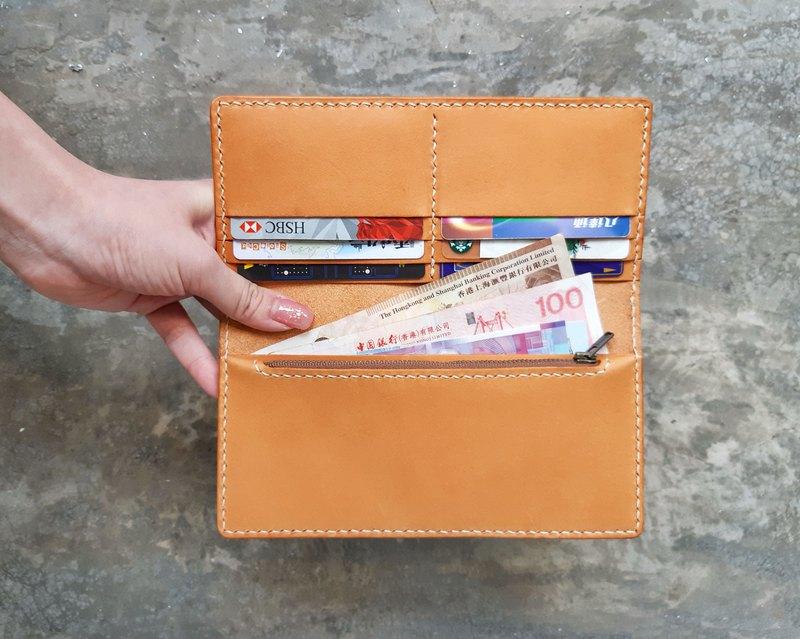 6咭位零錢包長夾 好好縫 皮革材料包 免費刻字 意大利植鞣 長銀包