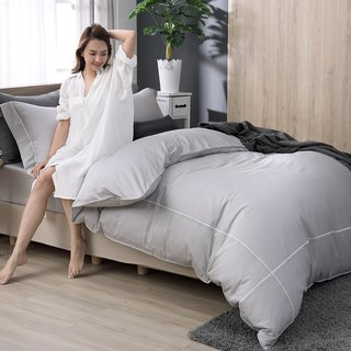 (Increase) Two-color embroidery gentleman gray - high quality 60 cotton dual-use bed bag four-piece group - 6 * 6.2 feet