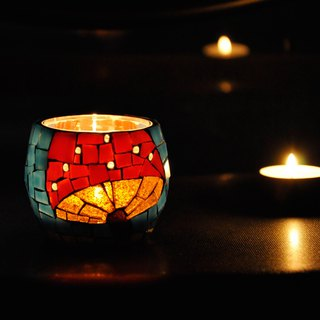 Life / small mushrooms / original hand made glass mosaic candlestick cute gifts home decoration