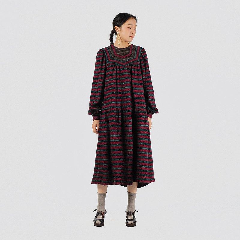 【蛋植物古著】真夜霓虹傘狀毛料針織古著洋裝
