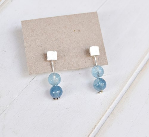 Water Blue Silver Earrings