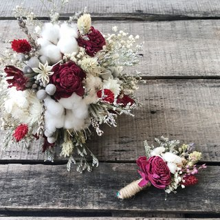 [Good flower] Sun Rose Bridal bouquet Red and white Series Dry bouquets Wedding bouquets Outside the bouquet Holding a corsage