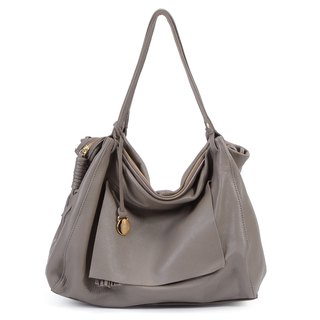 La Poche Secrete: French girl's cool bag _ fashion gray brown _ leather shoulder Messenger bag