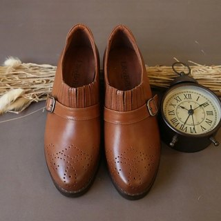 [Cola Lu era] handmade color rub carved shoes - brown