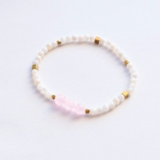 Sweet natural crystal / white shell beads / brass