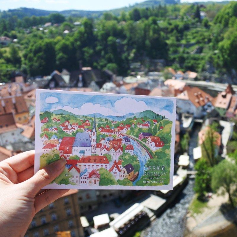 Rami歐洲旅行水彩手繪風明信片-捷克庫倫洛夫童話小鎮