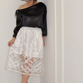 Flat 135 X Taiwan Designer Collections Japan Collection Fabric White Painted Embroidery Baskets Empty Lace Cloth Lined Pockets Lace Skirt Skirt Peng Skirt Waist Elastic Comfort Inside Freshness Party Wear Wedding Wear