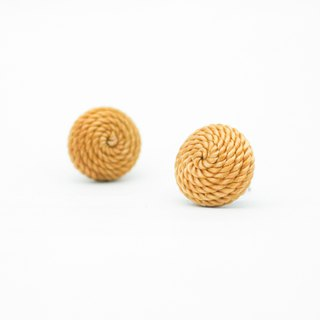 Circle dot Caramel Lemon Woven Stainless Steel Earrings Ear Clips 191