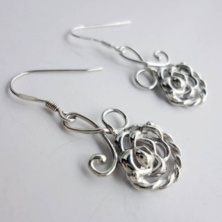 Gentle Rose Colorful Silver Earrings - Ear Hooks