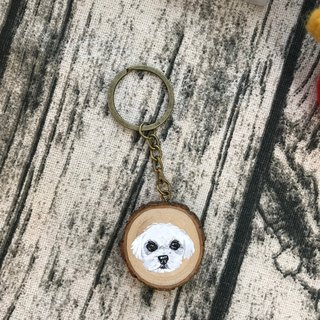 |Log Key Ring | Maltese 3-4 cm