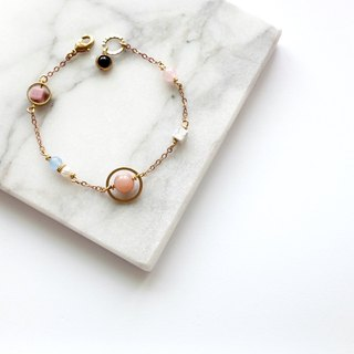 Brass Bracelet | Sun Stone | White Turquoise | Pink Crystal | Rosestone