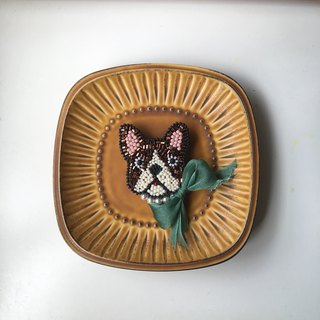 Tearoom I  Miss Bulldog embroidery brooch