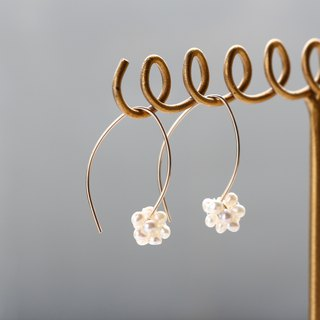 14 kgf-minimalist marquis pearl pierced earrings