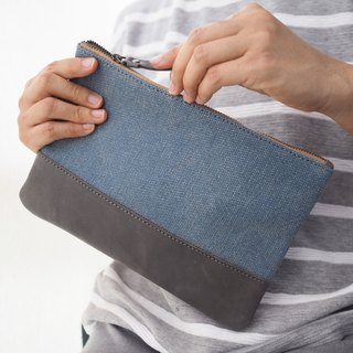 Stonewashed canvas and leather multi purpose case