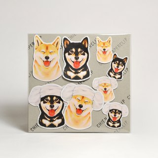 Matte waterproof stickers - Shiba Inu and black wood