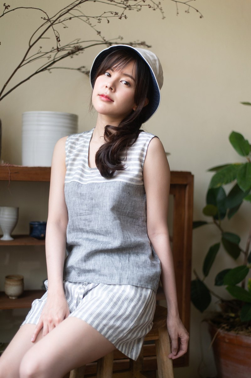 LINEN TANK TOP - Gray/Blue stripe