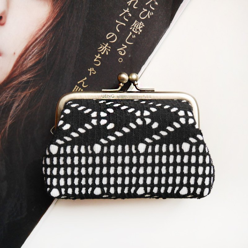 Black tone jazz big mouth coin purse / mouth gold bag [made in Taiwan]