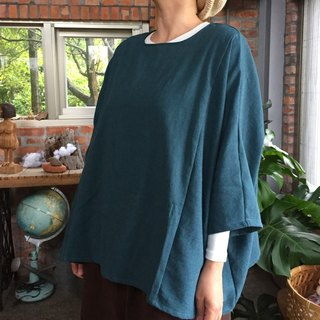 Mid-autumn and winter washed in cotton cotton hemp wide stitching smock