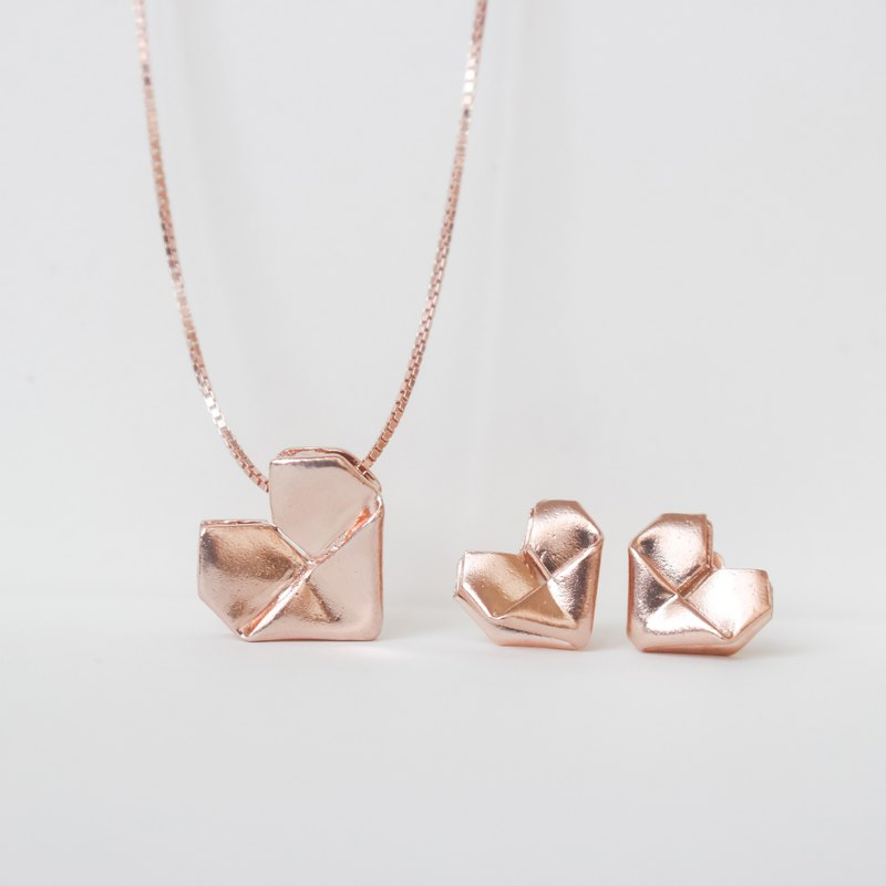 Personalised 925 Sterling Silver Rosegold Plated Origami Heart Necklace Earrings